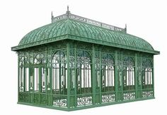OH...to have the right property for this!  Chelsea Gardens Conservatory. The frame is made of beautifully handcrafted wrought iron with glass panel inserts, reminiscent of merry old England in its heyday.  It is made of heavy gage tubular steel and tempered glass it weighs about 10000 LBS. It is 504 sq ft. of wonderful living space.
