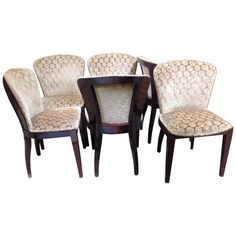 Set of Six Art Deco Rosewood Dining Chairs | From a unique collection of antique and modern dining room chairs at https://www.1stdibs.com/furniture/seating/dining-room-chairs/