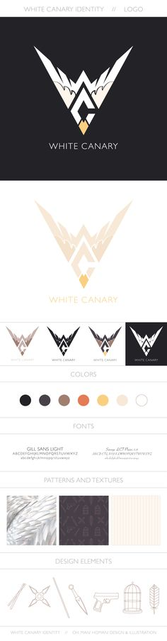 White Canary Logo Design – Part 1 of a personal project: branding for DC's Wh. Samurai Tattoo, Tips And Tricks, Gill Sans, White Canary, Logo Design, Web Design Inspiration, Branding, Logos, Projects