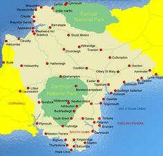 Map of Devon Devon Map, Budleigh Salterton, Exeter Devon, Dartmoor, Bude, Cornwall, England, Travel Ideas, Maps