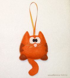 Felt Christmas Ornament  Orange Striped Kitty by SpokenStitch, $10.75