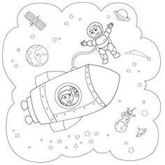 Illustrazione: Navetta nello spazio in bianco e nero
