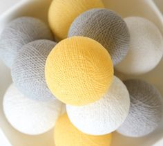 20 Cotton Ball Lights, Wedding Light, Patio Party, Fairy, Bedroom, Outdoor, Decor -  Pastel Yellow Grey White by LivingPastel on Etsy