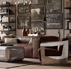 Lindsey Meyl Designs: Restoration Hardware's Aviator Furniture: it would be impossible to keep clean, but love the chair on the right. the sofa couldn't contrast more and looks crazy comfy but already worn pretty much out.