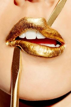 Gold by Photographer Arthur Belebeau #gold #lips #art