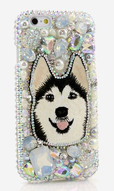 Husky Design crystals Bling case made for iPhone 6s Plus, iPhone SE. More 3D Crystals Stylist Puppy Dog Samsung, LG, HTC, Nokia Lumia, Black Berry Bling phone cases available. http://luxaddiction.com/collections/3d-designs/products/husky-design-style-800
