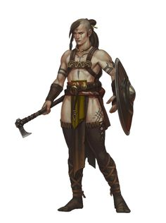 Female human barbarian - handaxe and shield - pathfinder pfrpg dnd d&d Character Concept, Character Art, Character Design, Dnd Characters, Fantasy Characters, Larp, Barbarian Armor, Iron Man, Dnd Art