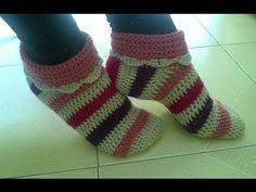 كروشيه سليبر شتوي لأي مقاس | حذاء باليرينا|crochet slippers - YouTube