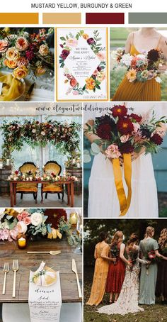 bold mustard yellow and dark red fall wedding color ideas wedding centerpieces 5 Amazing Wedding Color Palettes Inspired by EWI Floral Invitations Red Fall Weddings, Fall Wedding Cakes, Wedding Themes, Wedding Decorations, Wedding Ideas, Rustic Weddings, Unique Weddings, Fall Wedding Centerpieces, Yellow Weddings