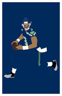 Seattle Seahawks Russell Wilson Poster 11 x by headfuzzbygrimboid