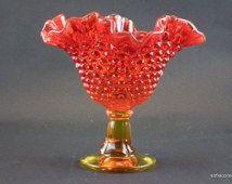 Kanawha Glass Vintage Color (Amberina) 882 Hobnail Compote - 1970s