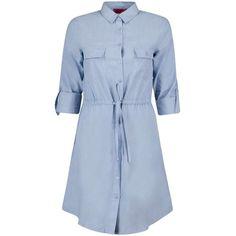 Boohoo Ann Chambray Woven Shirt Dress ($26) ❤ liked on Polyvore featuring dresses, shirt-dress, boohoo dresses, blue chambray dress, blue shirt dress and blue dress