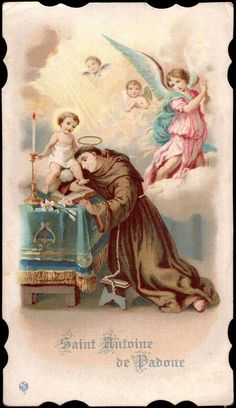 Holy card featuring St. Anthony of Padua