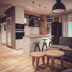 😍 This small kitchen design is ideal for an apartment or . by DECOR & DESIGN Home Interior Design, Interior Decorating, Interior Colors, Scandinavian Interior, Contemporary Interior, Interior Styling, Scandinavian Style Home, Kitchen Views, Loft Interiors
