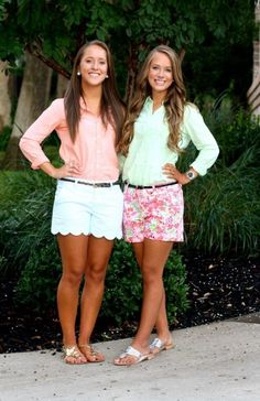 preppy summer style featuring shorts, button-downs, Jacks, and pearls. Adrette Outfits, Short Outfits, Spring Outfits, Summer Outfits Modest Classy, Mint Outfits, Preppy Outfits For School, Spring Shorts, Fashion Outfits, Fashion Trends