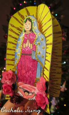 Celebrating the Feast of St. Juan Diego And Our Lady Of Guadalupe Catholic Crafts, Church Crafts, Catholic Traditions, Fun Crafts For Kids, Christmas Crafts For Kids, Art For Kids, Catholic All Year, Catholic Kids, Virgin Mary Art