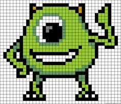 Mike Monsters Inc. perler bead pattern http://mistertrufa.net/librecreacion/culturarte/?p=12