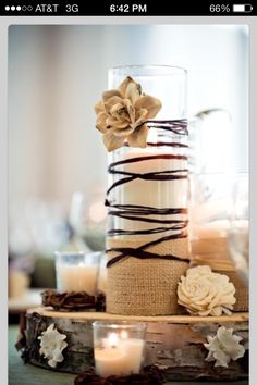 I love mason jar center pieces but this is just as cute!