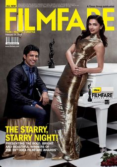 Deepika Padukone and Farhan Akhtar on the cover of 'Filmfare' after winning best actor and actress awards