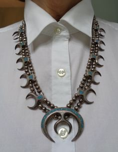 Vintage Native American Sterling Silver, Turquoise Chip Inlay Squash Blossom Necklace
