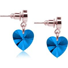 Pink Box Heart Drop Earrings Made with Swarovski CrystalsRose... ($9.99) ❤ liked on Polyvore featuring jewelry, earrings, blue, jewelry & watches, gold heart earrings, pink earrings, gold drop earrings, pink drop earrings and blue heart earrings