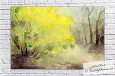 Luminous, dreamy, impressionist style watercolor landscape painting of forsythia in Central Park, NYC.  Unframed, framed and canvas art prints for sale from $37. © Beverly Brown www.beverlybrown.com