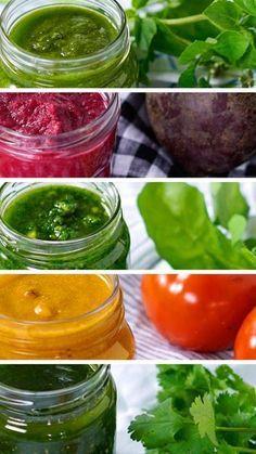 Aprenda cinco jeitos de fazer pesto. É fácil, rápido e fica uma delícia com macarrão, saladas ou sanduíches!