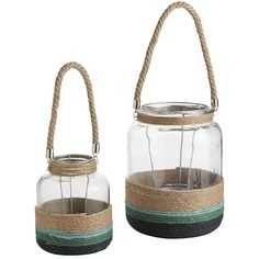 Encircled By Natural Rope In Coastal Colors, These Beachy GlassBlue  Natural Rope Lanterns Supply A Handcrafted, Nautical Feel Anywhereâu20acu201dpatio,  ...