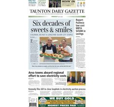 The front page of the Taunton Daily Gazette for Thursday, June 9, 2015.