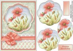 Pretty Poppies Petal Pyramid Card on Craftsuprint - Add To Basket!