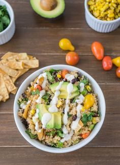 Ingredients: 1 1/2 cup uncooked white quinoa 1 avocado 1 cup cherry tomatoes 2 cups black beans 2 cups corn 1/3 cup cilantro 3 green onions 4 small corn tortillas 1/4 cup lime juice 1 teaspoon chil...