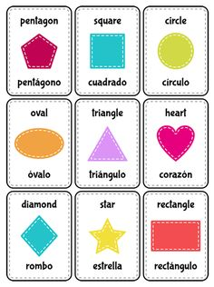 Bilingual shapes and colors flashcards - Print and cut the flash cards to learn shapes in both languages. Teach Yourself Spanish, Spanish Lessons For Kids, Learning Spanish For Kids, Spanish Language Learning, How To Speak Spanish, Teaching Spanish, English Lessons, Spanish Lesson Plans, Learn Spanish