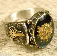 925 sterling silver man men ring turkish ottoman signature tugra abalone shell