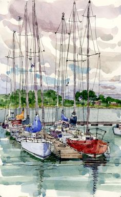 Good Day For A Sail, Watercolor by Shari Blaukopf.
