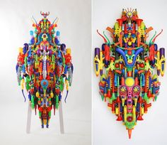 Recycled plastic toy art