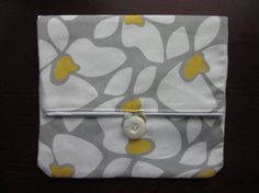 Grey and yellow floral clutch by keriBdesigns on Etsy, $10.00