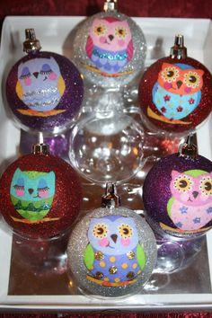 Owl Christmas Ornaments by CreativeGitana on Etsy