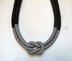 Statement wool necklace. Nautical knot thread by ylleanna on Etsy, €33.00