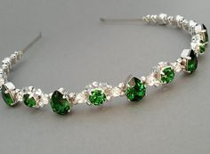 Dark Moss Green Swarovski headband silver green by ZTetyana