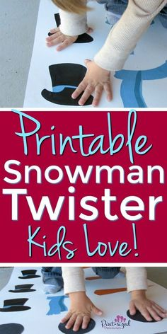 Your kids will love this printable, snowman Twister game! It has so many different game options that are incredibly fun and even educational! The printable game is perfect for preschoolers, toddlers and even big kids! Plus, it's perfect for the holidays when everyone loves snowman themed activities and games! #winter #snowman #printable #Christmasgames #holidays #kidsgames #preschoolers #activities