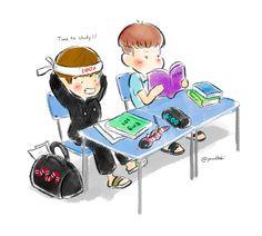 FanArt - BTS: V e Rap Monster por @YourHobi no Twitter ''Hora de estudar''