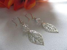 Autumn Fall Leaves Silver Dangle Earrings by RitzyandGlitzy, $14.00