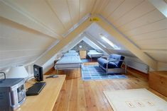 Low pitch attic room- for kids play room, maybe.