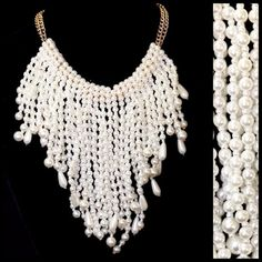 TS Handmade White Faux Pearl Statement Necklace ‼️PRICE FIRM‼️  Retail $245  ABSOLUTELY FABULOUS STATEMENT PIECE!!! It is such an amazing piece. Layer after layer of beautiful faux pearls. Gold color chain. Lobster clasp & free matching earrings. This will make a serious fashion statement. The layers are able to be removed simply by sliding them off the chain. This will allow you to have many different looks in one piece. Sure to dress up even the most basic outfit. Shortest layer is…