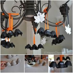 Get your kids involved in the festivities of Halloween with DIY Halloween crafts. For ideas and inspiration, explore this Halloween kids' crafts gallery! Origami Halloween, Soirée Halloween, Adornos Halloween, Manualidades Halloween, Halloween Crafts For Kids, Homemade Halloween, Women Halloween, Halloween Bat Decorations, Hallowen Ideas
