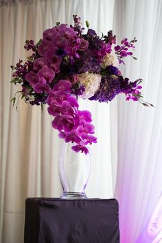 Photo: Anna & Spencer Space: The Ballroom at Twelve- Atlanta, GA Flowers/Decor: Ciao Bella Weddings Hotel Flower Arrangements, Beautiful Flower Arrangements, Beautiful Flowers, Ikebana, Arte Floral, Silk Flowers, Purple Flowers, Hotel Flowers, Floral Centerpieces