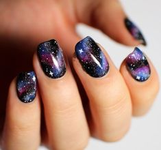 Image viaCheck out this gallery of galaxy nail art if you need inspiration for your next manicure!Image viaSimple, Realistic Galaxy Nails Tutorial, featuring JINsoon Obsidian - This is Simple Nail Art Designs, Beautiful Nail Designs, Cute Nail Designs, Beautiful Nail Art, Fingernail Designs, Awesome Designs, Beautiful Pictures, Nagellack Design, Nagellack Trends