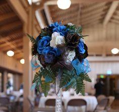 chocolate brown and aqua blue wedding