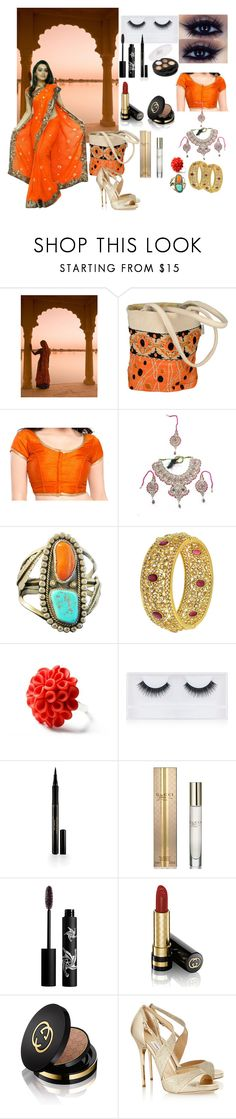 """""""India"""" by alena-hodzic ❤ liked on Polyvore featuring Hring eftir hring, Georgie Beauty, Elizabeth Arden, Gucci, Rouge Bunny Rouge and Jimmy Choo"""