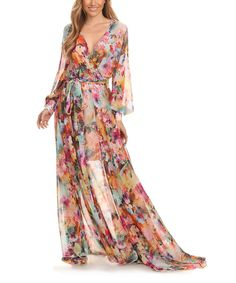 This Karen T. Design Pink & Green Semi-Sheer Floral Tie-Waist Maxi Dress - Plus Too by Karen T. Design is perfect! #zulilyfinds